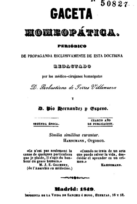 Gaceta con frase de Hahnemann